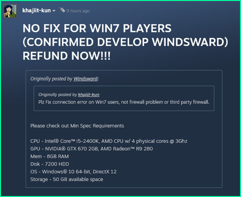 New World will not support Windows 7