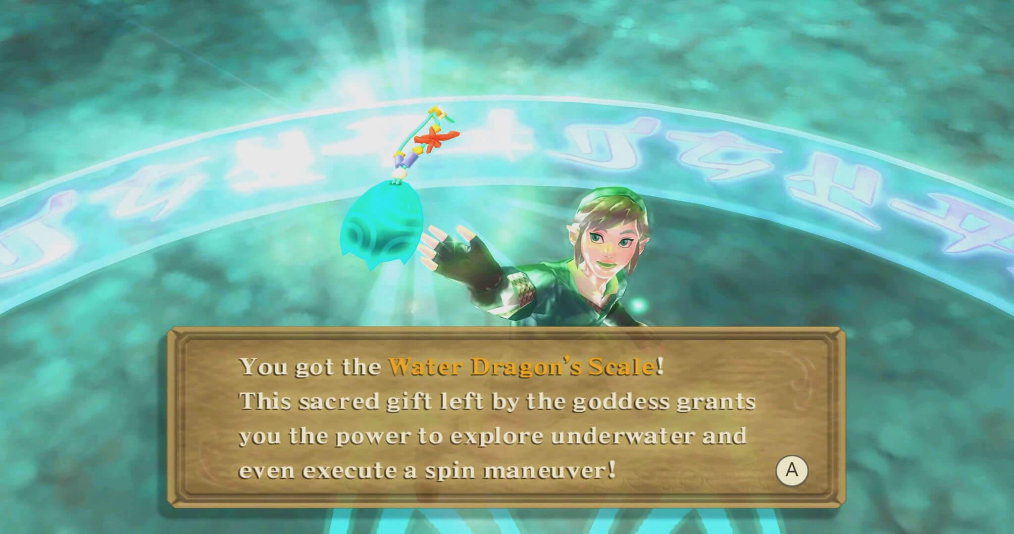 How to Unlock Diving Underwater in Legend of Zelda Skyward Sword HD-Water Dragon's Scale